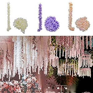 Maxbei 10Pcs/lot Artificial Silk Hydrangea Wisteria Flower String DIY Simulation Wedding Arch Square Rattan Wall Hanging Basket Wedding Party Garden Home Kitchen Office Wall Decorations Mothers day Gi 70