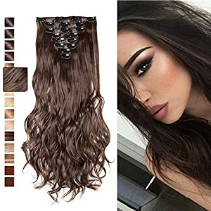 """S-noilite 24""""(60cm) Curly Medium Brown 8pcs Full Head Clip in Hair Extensions Best Xmas Gifts for Beautiful Lady Long"""