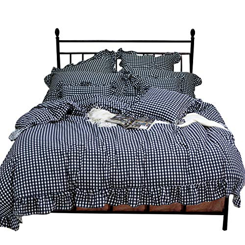 TEALP Plaid Check Simple Gingham Bedding 3 Pieces with Ruffles, White and Black Plaid (Queen, 1 Duvet Cover + 2 Pillow Shams)