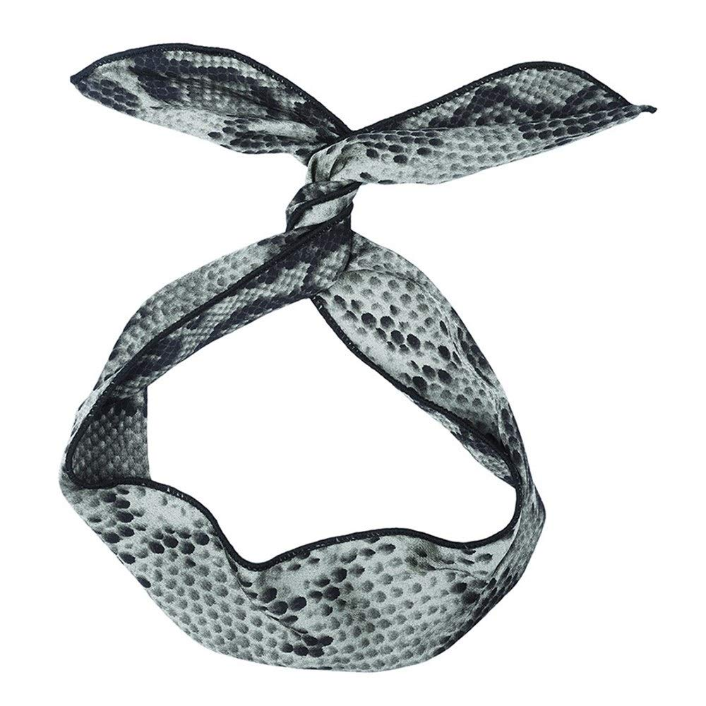 Hair Bands Rabbit Ear Turban Headband for Women Retro Snake Print Hairbands Hair Bow Ties Band Scarf Headpieces Fang-denghui