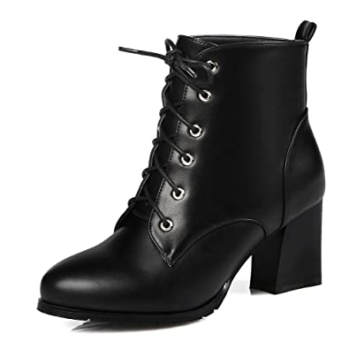 Women's Round Toe High Platform Ankle Strap Lace-up Closure Chunky Heels PU Boots with Zipper