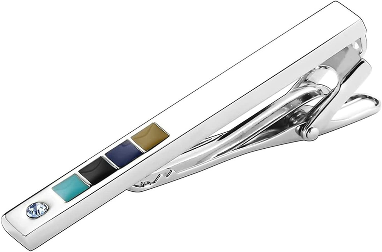 Aooaz Men Stainless Steel Mens Tie Clip Round White Crystal Cz Stickpin Shirt 9.6X5.9CM H161