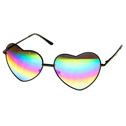 fe9029dc9b Womens Metal Frame Flash Mirror Rainbow Lens Heart Shape Sunglasses (Black)