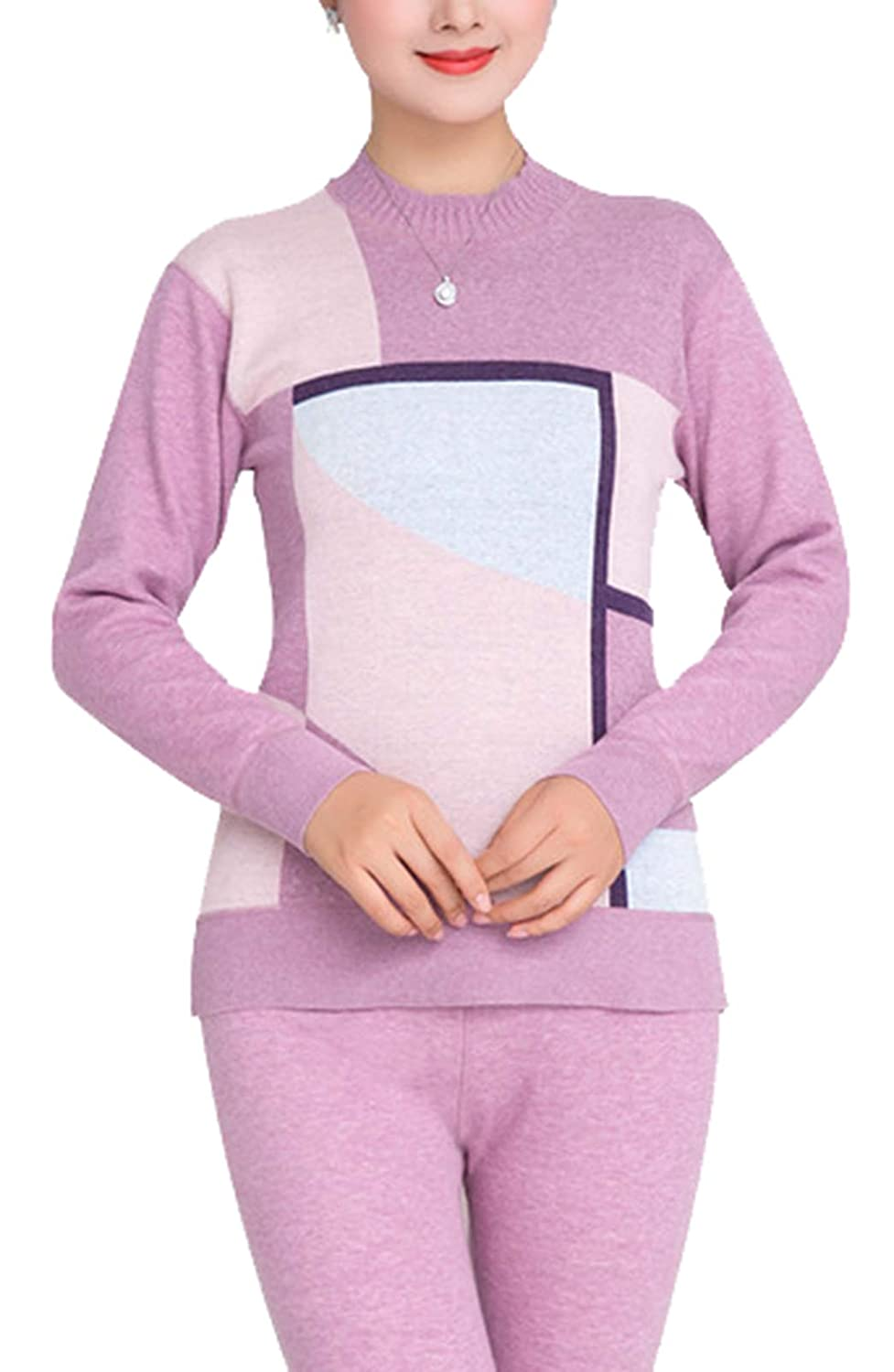 YVWTUC Middle-Aged Women High Neck Thermal Underwear Set Autumn Top and Bottom Pajamas 2Pc