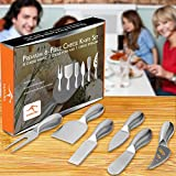 KANGORA Cheese Knife Set (6-Piece Kit) Gourmet, Stainless Steel Kitchen and Dinner Hosting Use | Hard, One-Piece Design | Cheeses, Butter, Jam | Rust & Corrosion Resistant | Ch