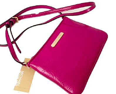d474fd76cf2c Image Unavailable. Image not available for. Color: Michael Kors Monogram  Embossed Fuschia Small Leather Crossbody Bag