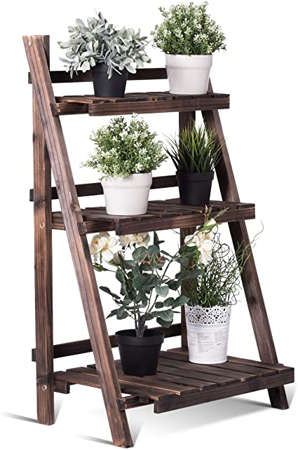 Goplus 4 Tier Wood Plant Stand Flower Pot Holder Display Shelf Rack Ladder Step