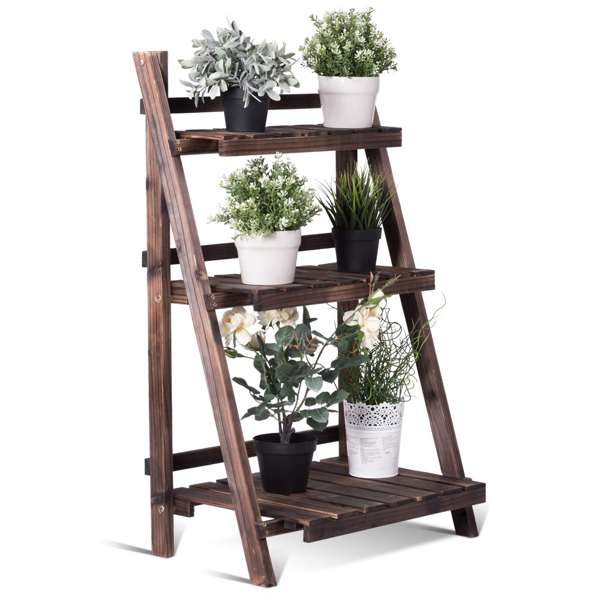 Giantex 3 Tier Folding Wooden Plant Stand with Pot Shelf Stand Display Rack for Indoor Outdoor Garden Greenhouse