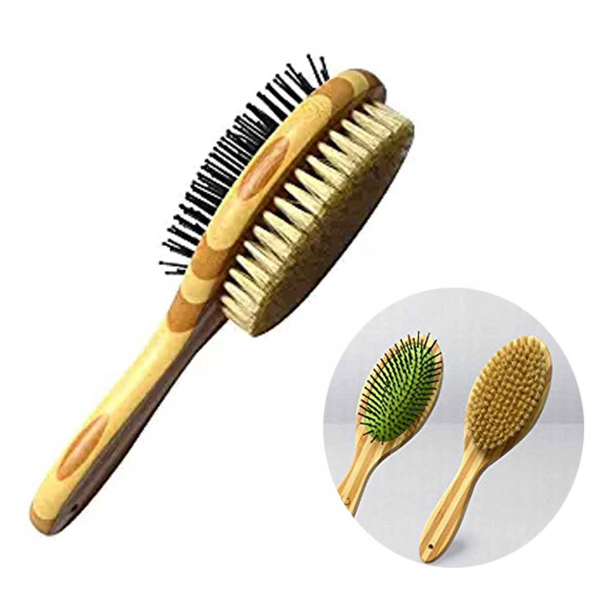 Schnappy Pet Dog Brush Comb,Professional Double Sided Pin & Bristle Bamboo Brush for Dogs & Cats,Pet Shedding Tool for Short Long Hair