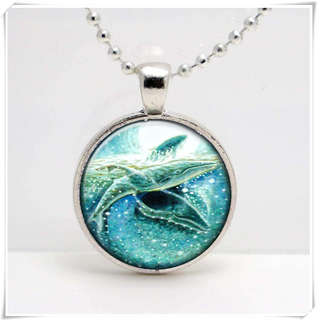 Humpback Whales Swimming Necklace ,Humpback Whales Swimming Art Pendant ,Dome Glass Ornaments, Pure Handmade wish dandelion