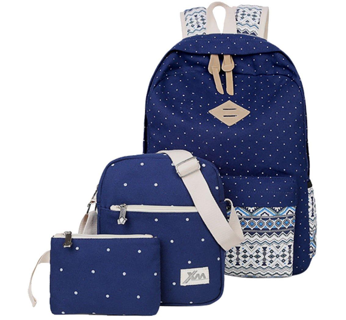 Veenajo Casual Lightweight Cute Dot Canvas Laptop Bag Shoulder Bag School Backpack for Teen(Navy)