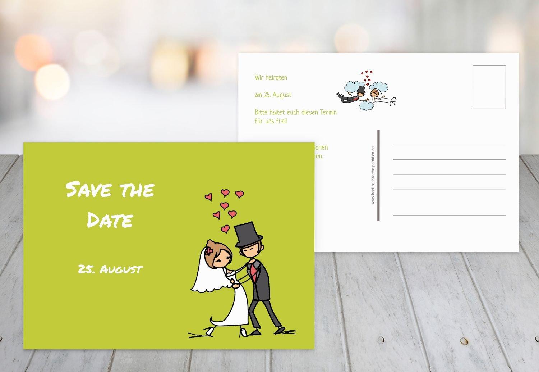 Save The Date Comic Couple Apple Green 90 Karten Amazon Co Uk