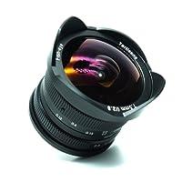 7artigiani 7.5mm f2,8MFT obiettivo manuale per Panasonic Olympus micro quattro terzi M4/3telecamere con protezione copriobiettivo, rimovibile paraluce–nero
