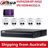 Dahua 8CH 6MP PoE Home Security Camera System, 6MP Outdoor PoE IP Cameras with Build in MIC, 4K 8-Channel NVR(NVR4208-8P-4KS2+IPC-HDW4631C-A 2.8MM(5PCS)+2TB HDD)