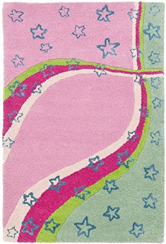 Safavieh Safavieh Kids Collection SFK338A Handmade Green and Pink Cotton Area Rug 2 x 3