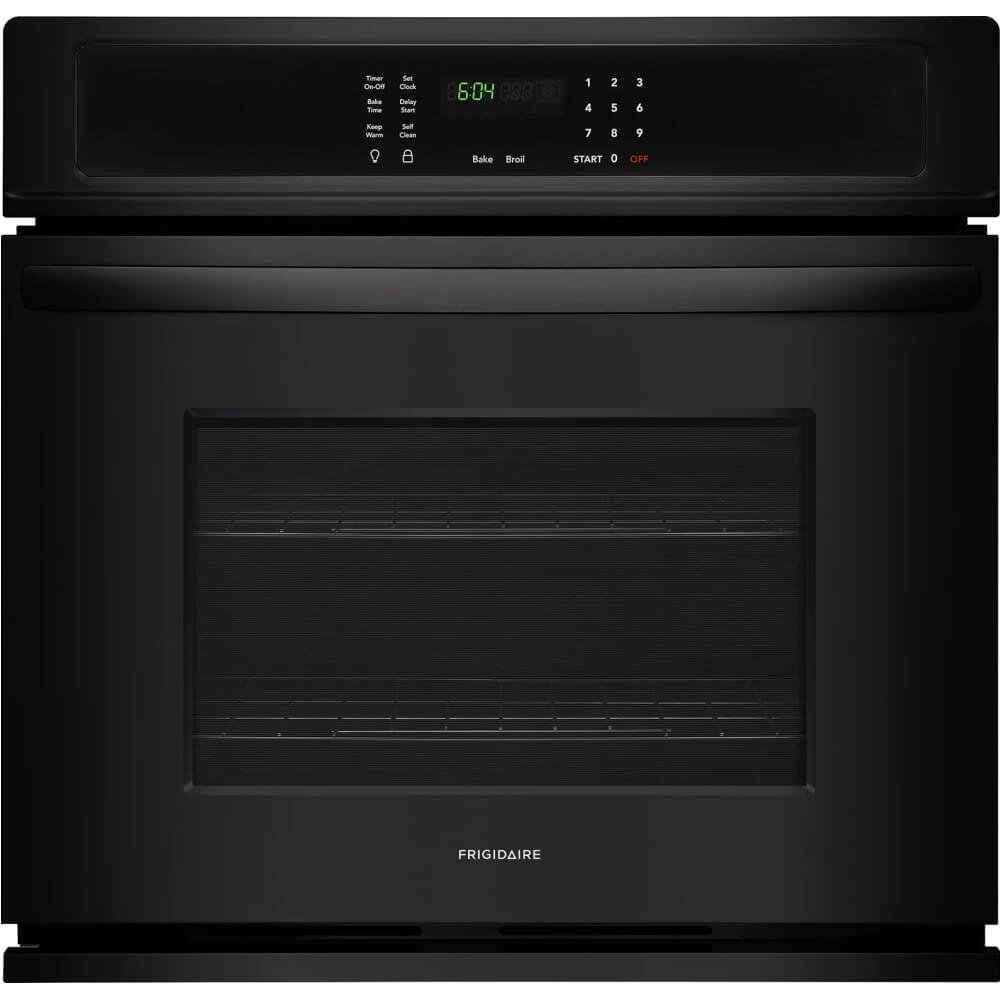 Frigidaire FFEW3026TB 30 Inch 4.6 cu. ft. Total Capacity Electric Single Wall Oven with 2 Oven Racks, Sabbath Mode, ADA Compliant, in Black