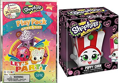 Shopkins Funko Vinyl Figure Poppy Corn fun character & play pack Coloring activity set