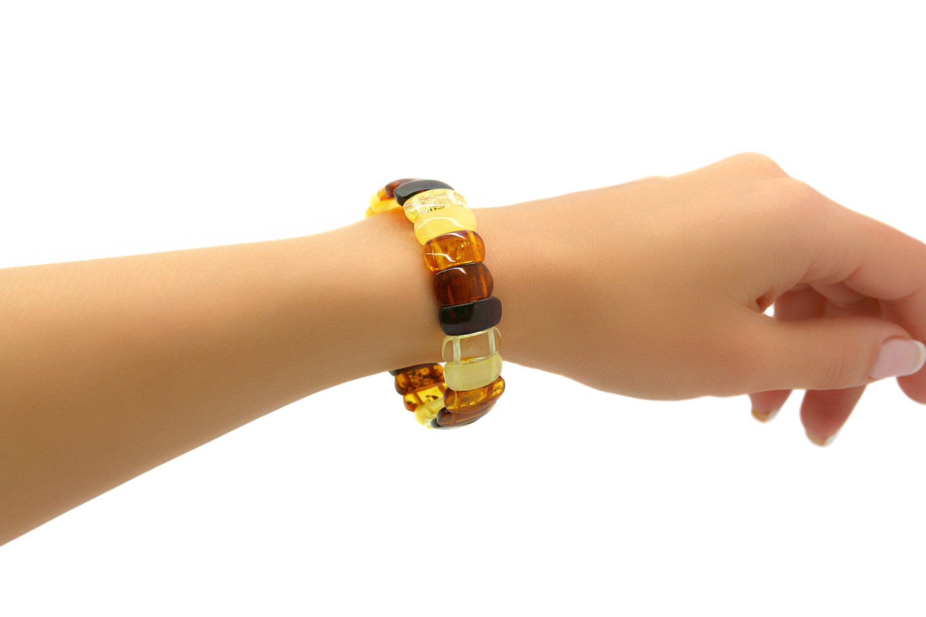 Genuine Natural Baltic Multicolored Amber Stretch Bracelet For Women by AmberDeals (Image #4)