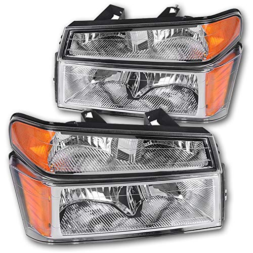 JSBOYATHeadlight Assembly Replacement for 2004-2012 Chevy Colorado/GMC Canyon Headlamp + Bumper Lights with Chrome Housing - Passenger and Driver Side (Chrome) (Chrome Headlight Canyon Headlamp)