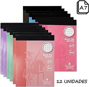 Quijote Paper World Pack 12 Bloc de Notas, Libreta, Cuaderno, Interior Cuadros 4x4mm, A7, 80H de 60Gr para Uso Escolar, Oficina, Trabajo, etc.: Amazon.es: Oficina y papelería