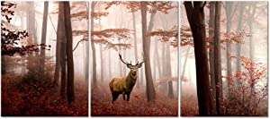 Visual Art Decor Deer in Red Autumn Foggy Forest Picture Indeer Elk Stag Canvas Prints for Home Living Room Bedroom Wall Decoration Ready to Hang