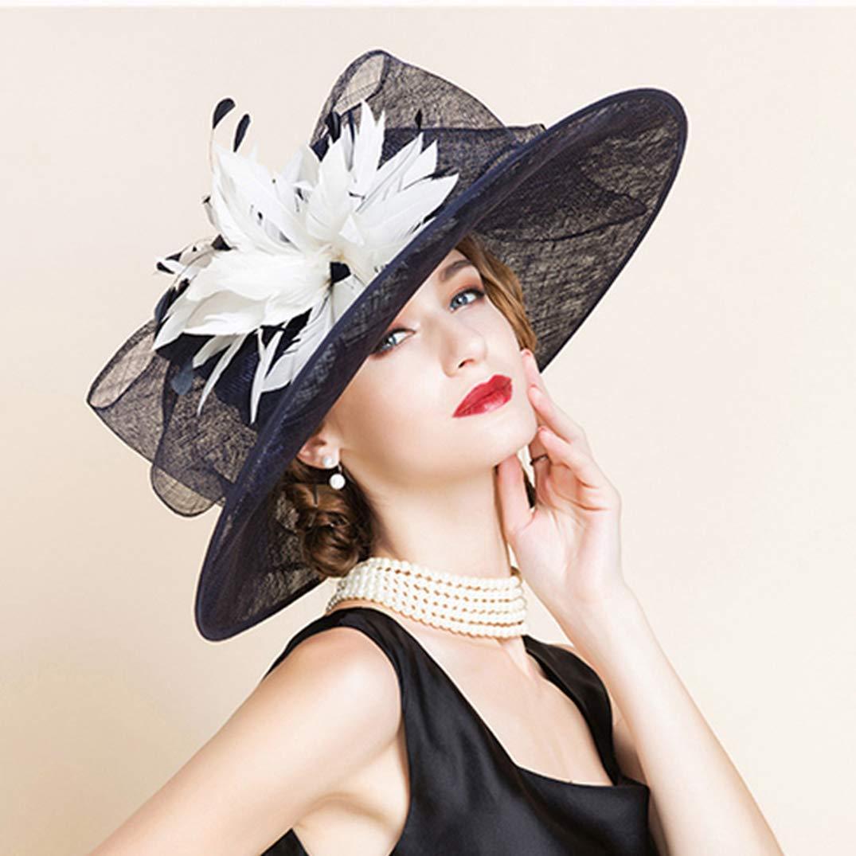 YALOEE Pillbox Hats for Women Fedora Elegant Linen Wedding Fascinator Hat Formal Party Caps Blue by YALOEE (Image #6)