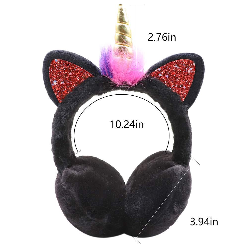 Unicorn Earmuffs for Women Girls Soft Plush Ear Warmers Winter Outdoor Ear Muffs