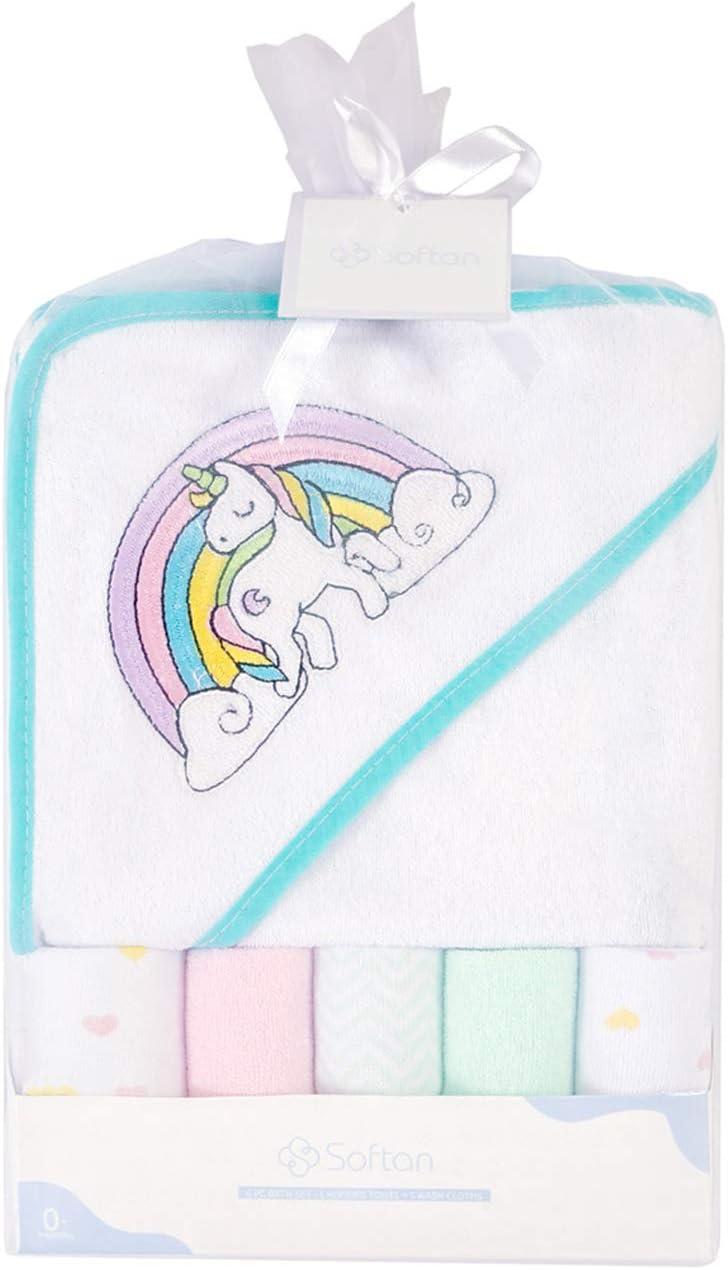 unicornio Toalla de ba/ño con capucha y toallitas para beb/é Paquete de 6 regalos para reci/én nacidos y beb/és Extra suave y ultra absorbente
