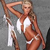 Raphycool Sexy Tassel Bra Woman Sexy Bikini With PAD Swimsuits Ladies Padded Fringe Top- White