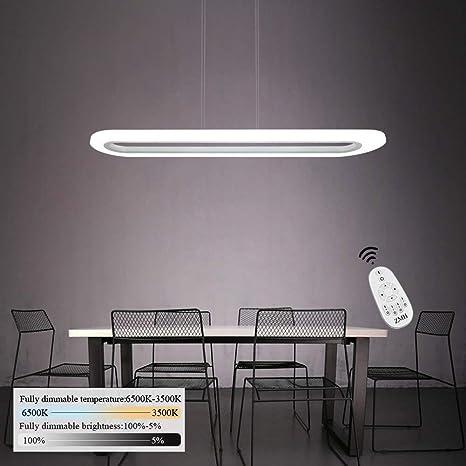 Lámpara Colgante de Techo de Oficina, LED 40W Iluminación Interior Luz Pendiente Control Remoto de ALtura y Brillo Ajustable(3500-6500K) con Panel de ...