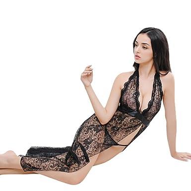 dc159862757 ZycShang Womens Lace Sexy Silk Like Sleepwear Dressing Gown Robe Lingerie Babydoll  Bath Robe Strappy V Neck Sleepwear Lace Dress G-String Set Pajama ...