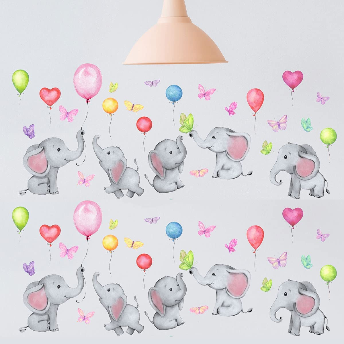 Wall Decor with Animal, Butterfly, Balloons, 8 Sheet Baby Elephant Nursery Decor, Wall Stickers for Kids, Bedroom Décor for Girls