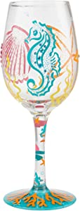 Enesco Designs by Lolita Coastal Artisan Wine Glass, 15 Ounce, Multicolor