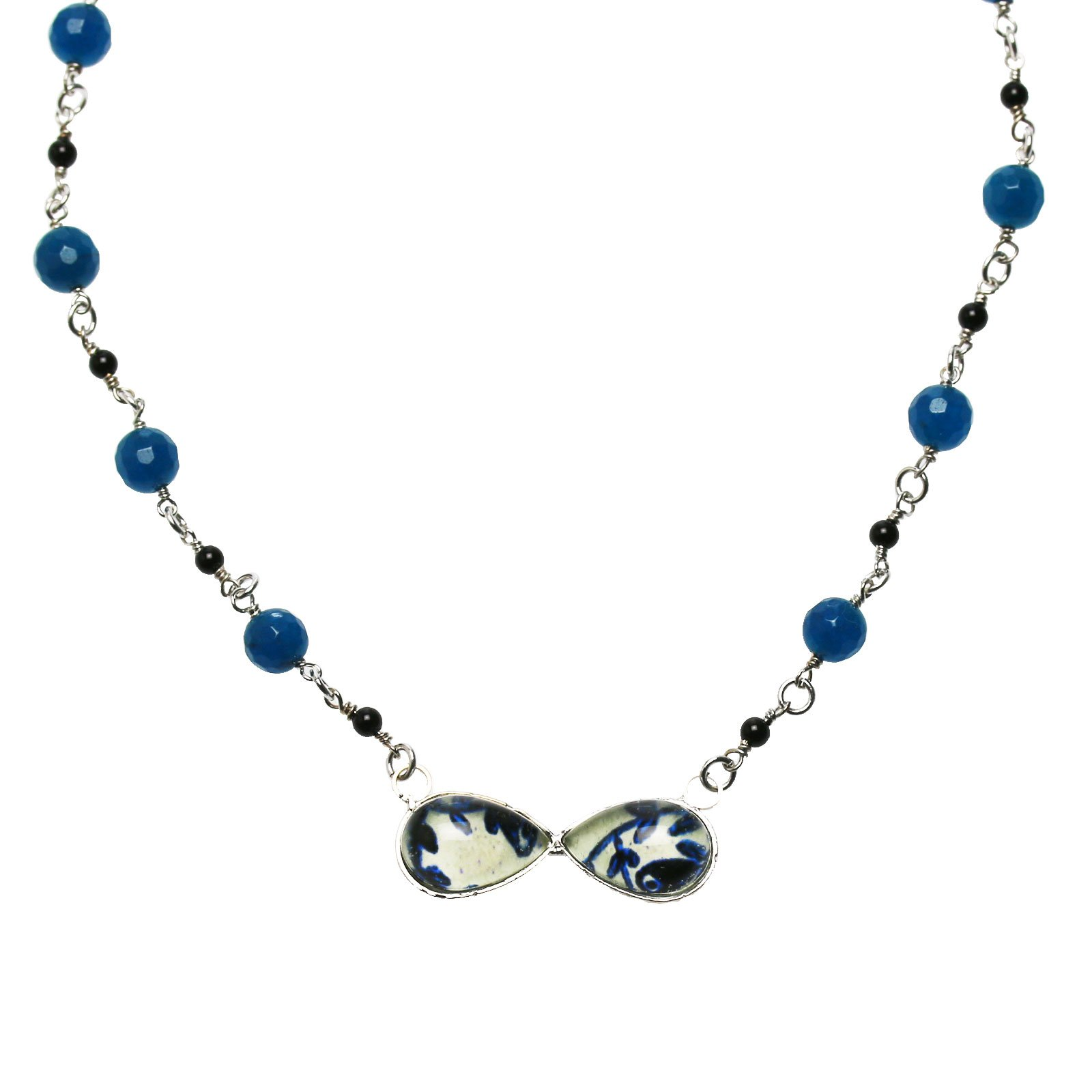 Tamarusan Choker Necklace Bow Tie Style Blue Flower Lapis Lazuli Quartz(Dyed)