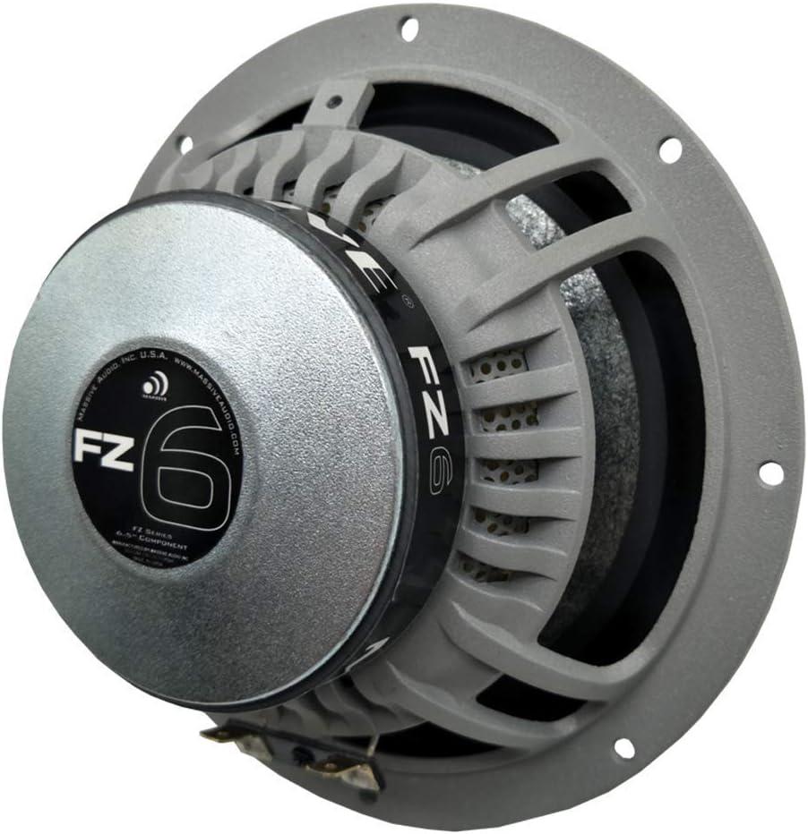 Massive Audio FZ6 12dB Crossover Kit Pair 200 Watts // 400 Watts Max 6 Inch // 6.5 Inch 4 Ohm Mica Paper Cone 25mm Silk Ferro Fluid Tweeter