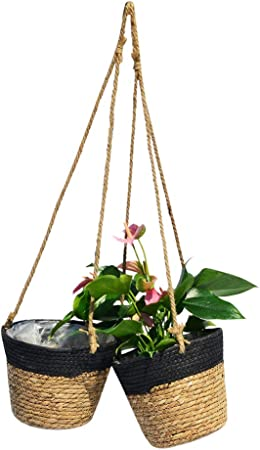 Ravolumini Seegras Handgemachter Hangepflanzkasten Blumentopf Fur Innenpflanzen Gewebter Blumenkorb Mit Jute Seil 2er Set Schwarz Amazon De Garten