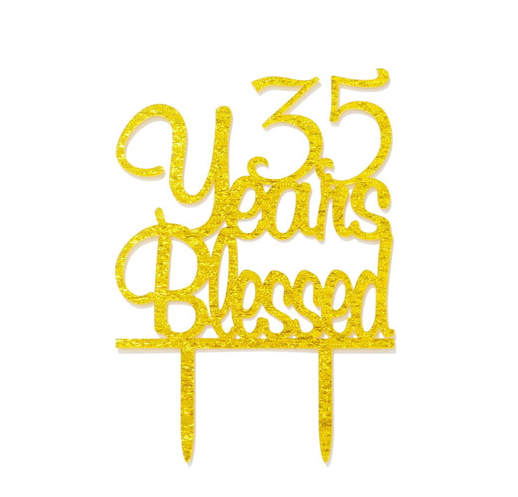 Amazon.com: 35 Years Blessed Gold Glitter Hanging Sign