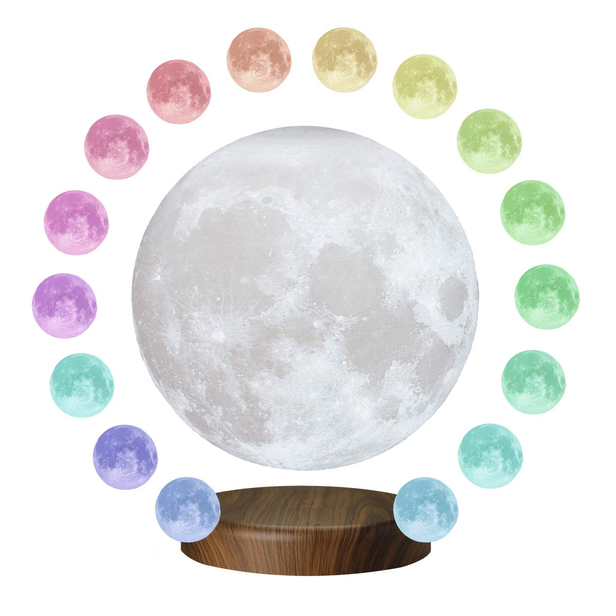 KUNGKEN Magnetic Floating Levitation Moon 3D Printing LED Night Light 16 Colors RGB Rotating Lunar Table Lamp for Home Desk Office Decor 7.1IN