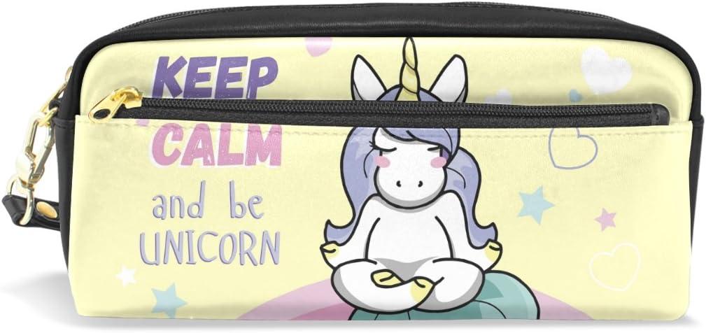 YZGO Keep Calm Yoga Unicorn Pencil Case Portable Pen Organizer Bag PU Leather Large Capacity