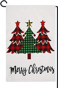 ZOORON Merry Christmas Plaid Tree Garden Flag Burlap Vertical Double Sized Winter Holiday Farmhouse Yard Outdoor Decor 12.5 x 18 Inches