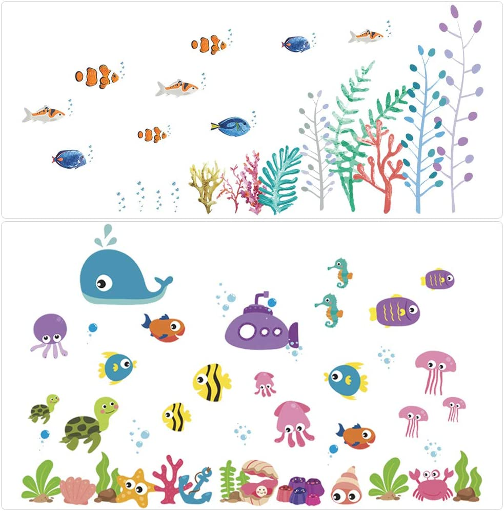 Under The Sea Wall Decals Stick Ocean Decor for Toddlers/' Bathroom and Children/'s Classroom Baby/'s Nursery Window Bedroom Bathtub YANSHON Fish Wall Stickers Reusable Glass Window Stick Ocean De