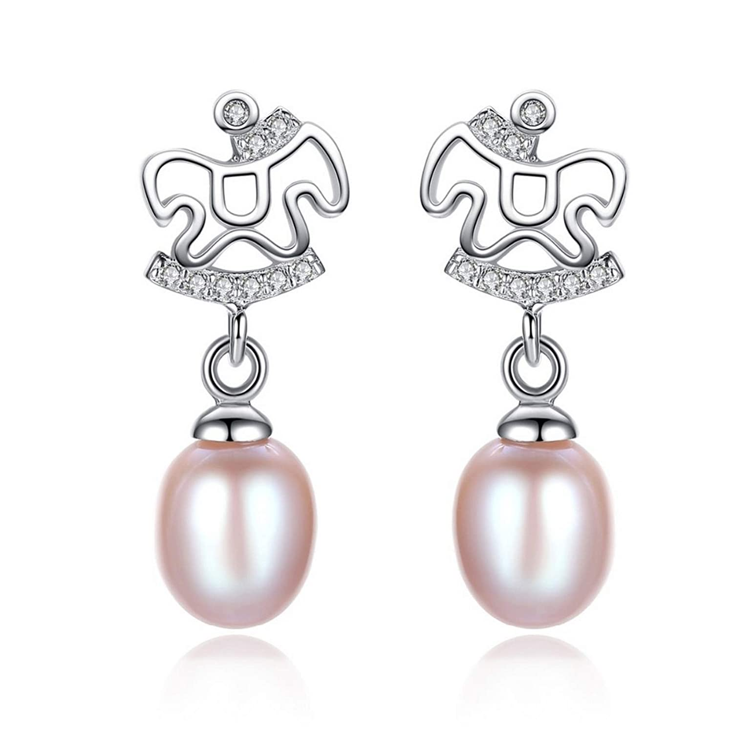 Sterling Silver Jewelry By CS-DB Lovely Horse Natural Pearl Daily-life Stud Earrings