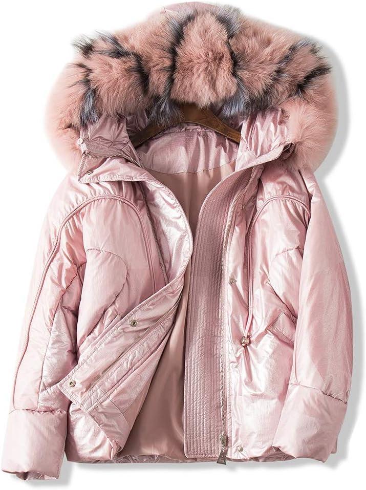 Zxl-wy Abrigo de Invierno de Down (Artefacto Resistente al frío) de Gran tamaño Simulación de Piel de Zorro Cuello de la Patente de Cuero Brillante Perfil Pan Servicio Mujer (Color : Pink, Size : M)