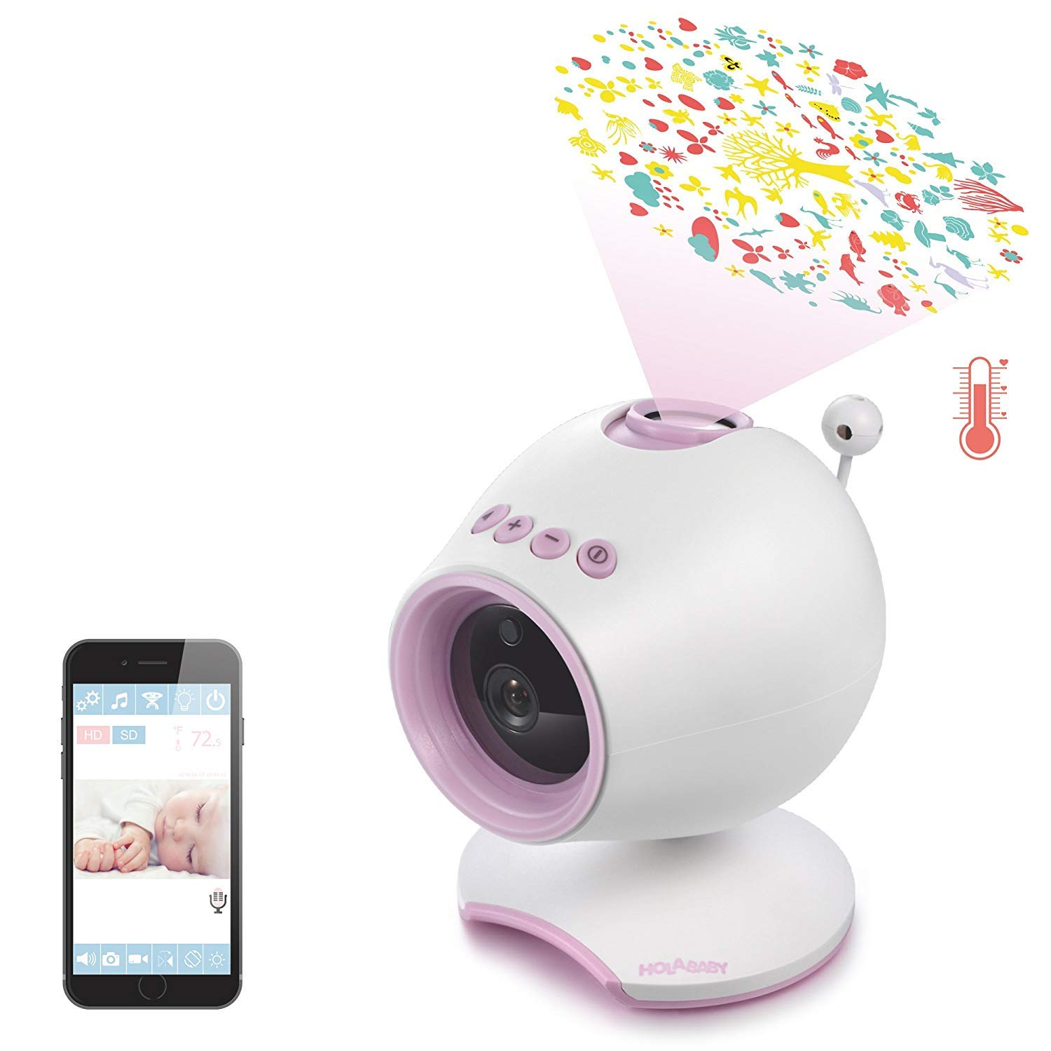 HOLABABY WiFi Baby Monitor HD Baby Video Camera with Two Way Audio,Remote View Baby Sleep with Soothing Projection, Lullabies, Temperature and Night Vision (Pink)