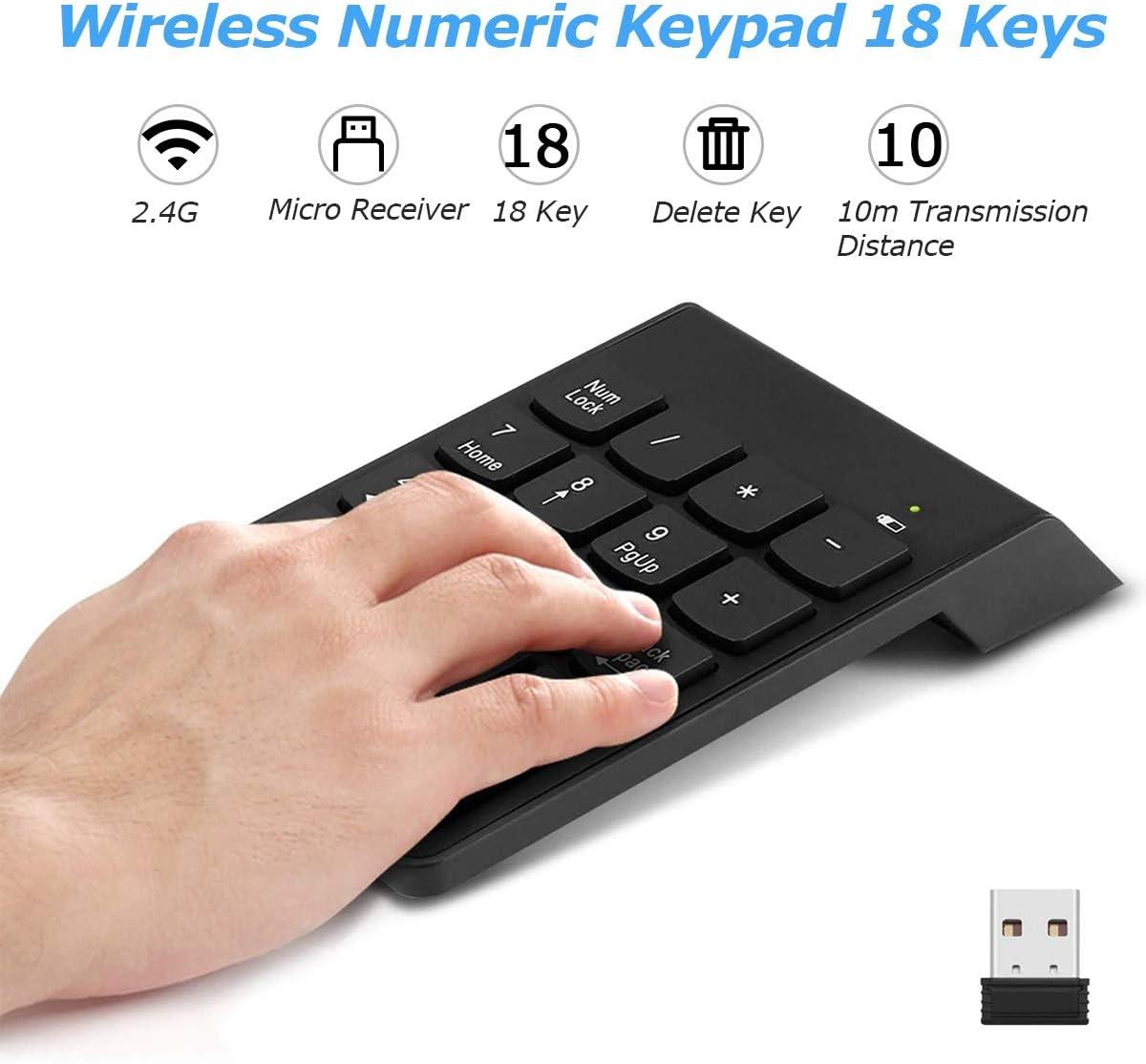 Wireless Keyboard 18 Keys 2.4GHz Mini USB Numeric Keypad Computer Accessories