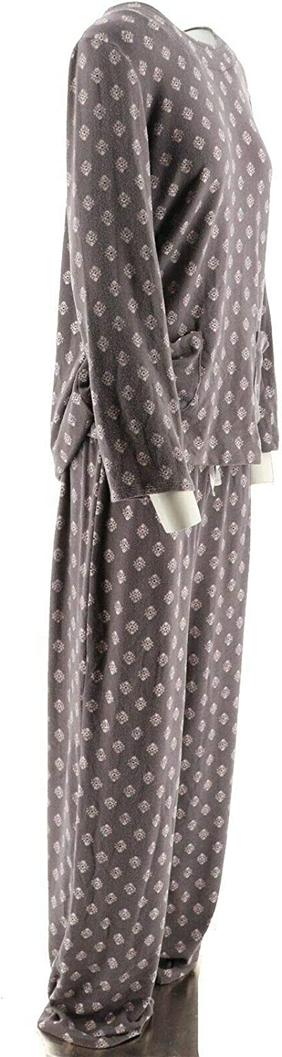 Carole Hochman Abstract Hydrangea Maxi Dress Set Sweet Truffle L NEW A273581