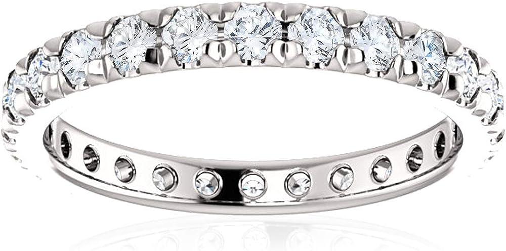 1 Ct Diamond Wedding Eternity Ring 14k White Gold