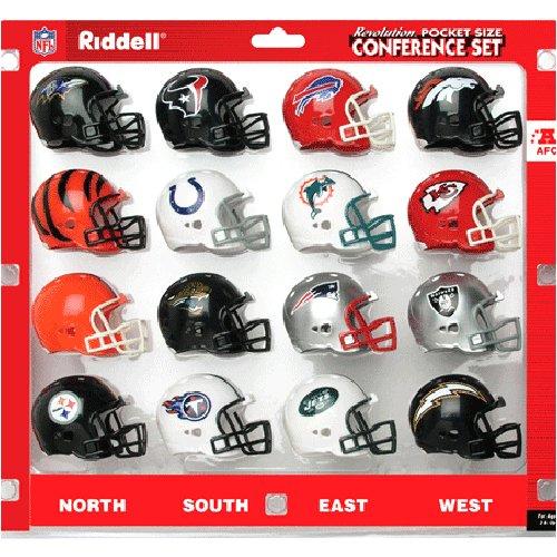 AFC Conference (16pc.) Revolution Style Pocket Pro NFL Helmet Set by Riddell ()