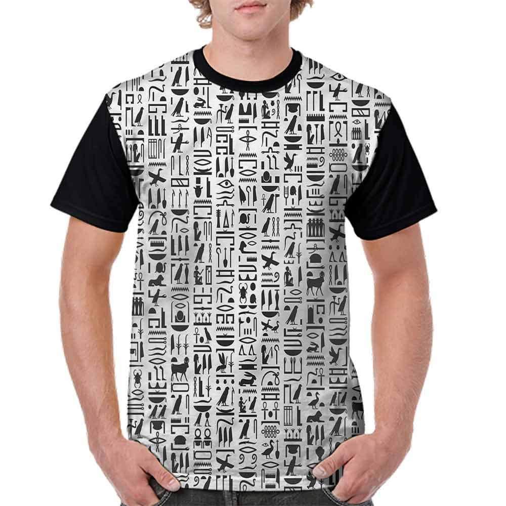 BlountDecor Unisex T-Shirt,Monochrome Hieroglyphs Fashion Personality Customization