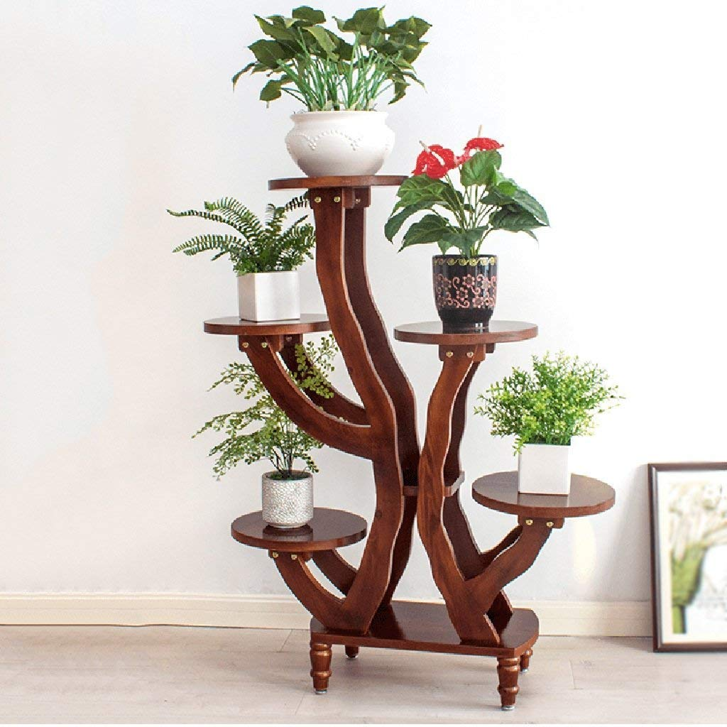 CWJ Flower Stand-Flower Flower Stand Chlorophytum Single Tall Balcony Decorative Shelf Living Room Fioriera da Interno e da Esterno,con i Piedi,colore Castagna